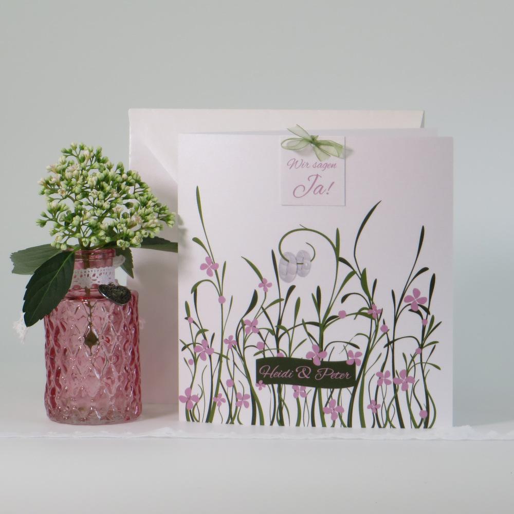 """Hochzeitseinladung """"Hochzeitswiese"""" rose"""