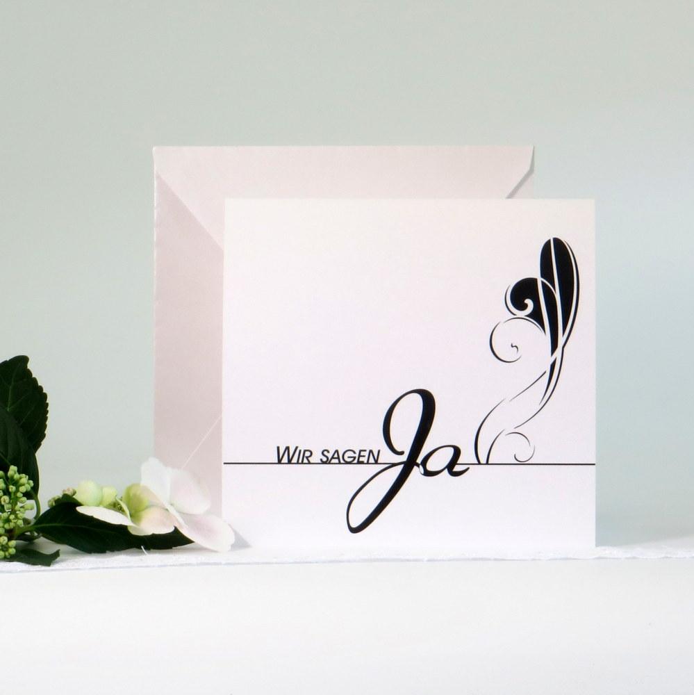 """Hochzeitseinladung """"Ja"""" schwarz"""