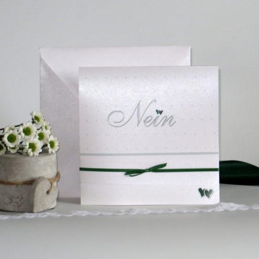 """Hochzeitseinladung """"NEIN"""" dunkelgrün"""