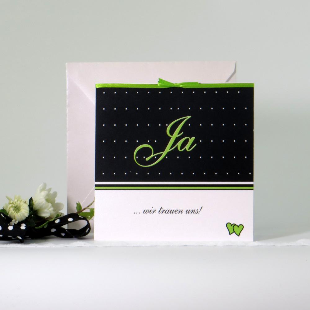 """Hochzeitseinladung """"NEIN - JA"""" grün"""