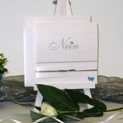 """Hochzeitseinladung """"NEIN"""" türkis&weiß"""