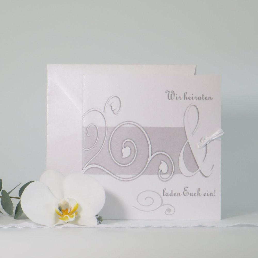 "Hochzeitseinladung ""Ornamente"" grau&weiß"