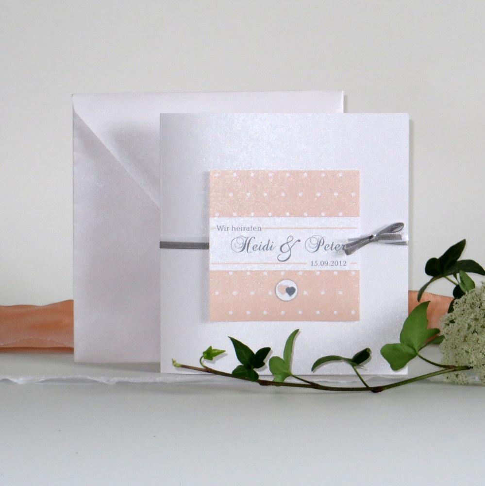 """Hochzeitseinladung """"Punkte"""" apricot&grau"""