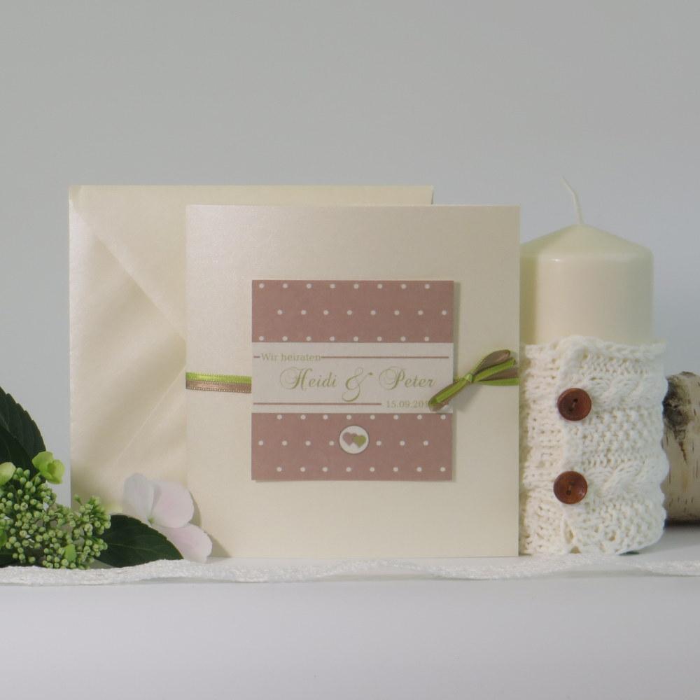 """Hochzeitseinladung """"Punkte"""" braun&grün"""