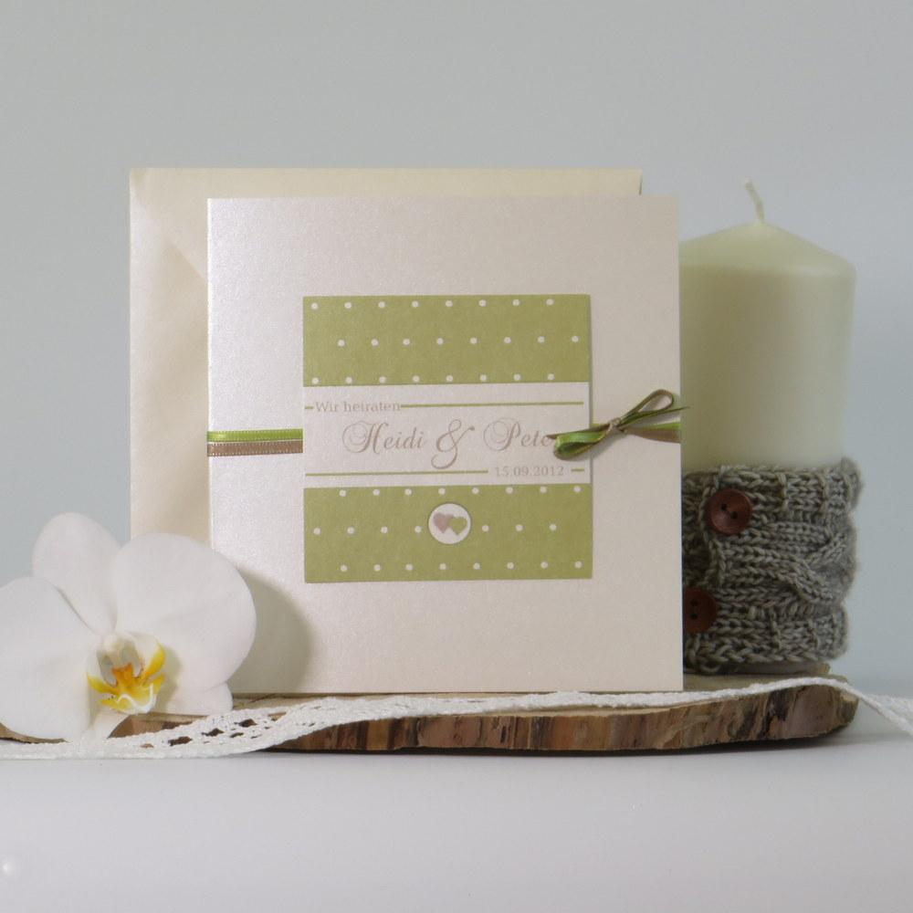 """Hochzeitseinladung """"Punkte"""" grün"""