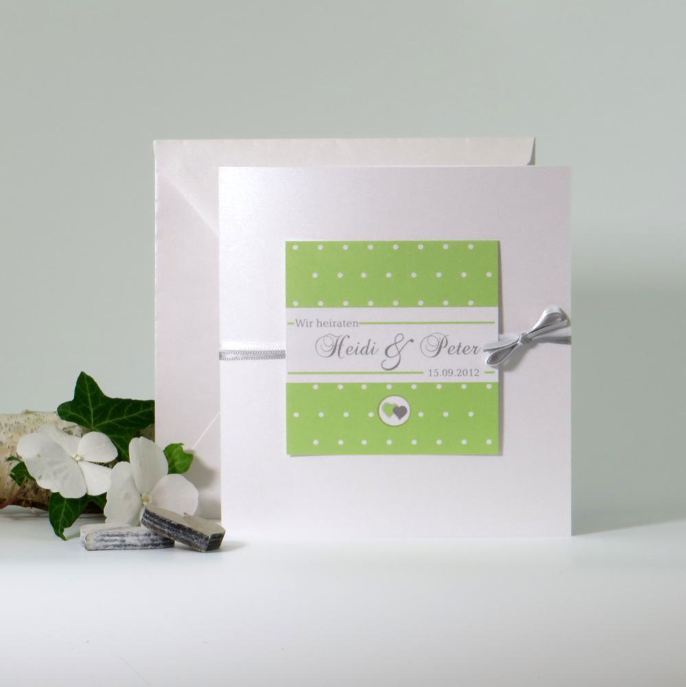 """Hochzeitseinladung """"Punkte"""" grün&grau"""