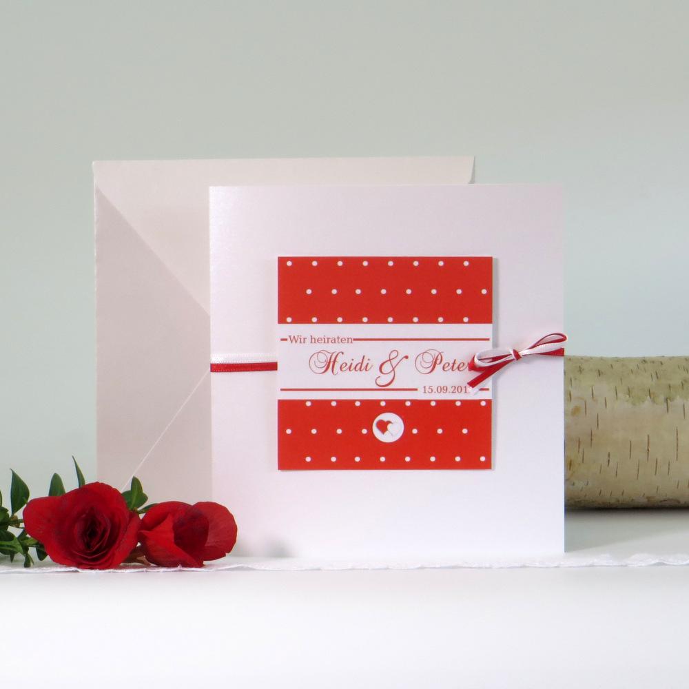 """Hochzeitseinladung """"Punkte"""" rot&weiß"""