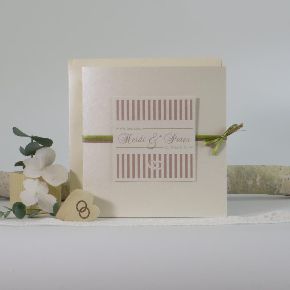 """Hochzeitseinladung """"Ringe"""" creme-braun-grün"""