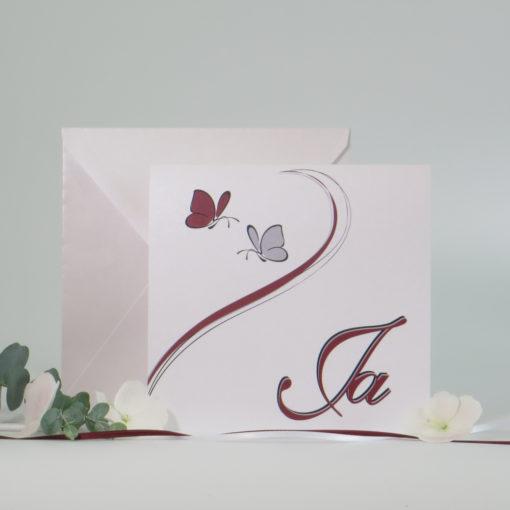 """Hochzeitseinladung """"Schmetterlinge"""" bordeaux&grau"""