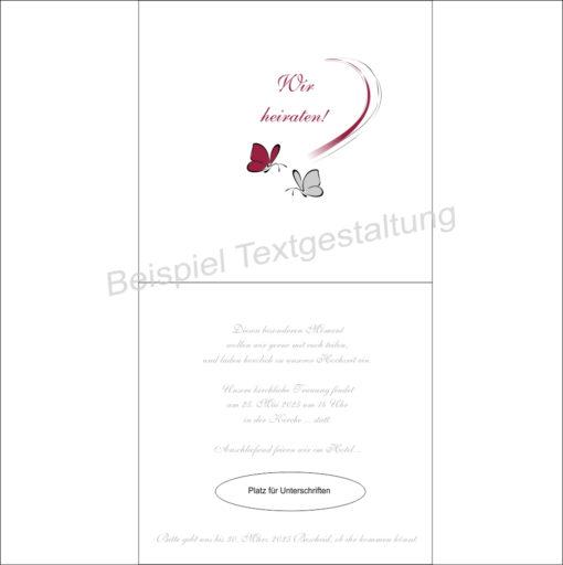 """Hochzeitseinladung """"Schmetterlinge"""" bordeaux&grau Innentextgestaltung"""