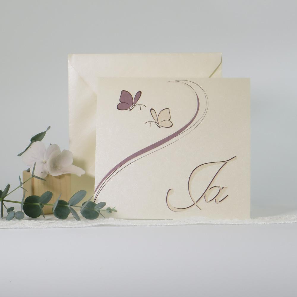 """Hochzeitseinladung """"Schmetterlinge"""" creme&braun"""