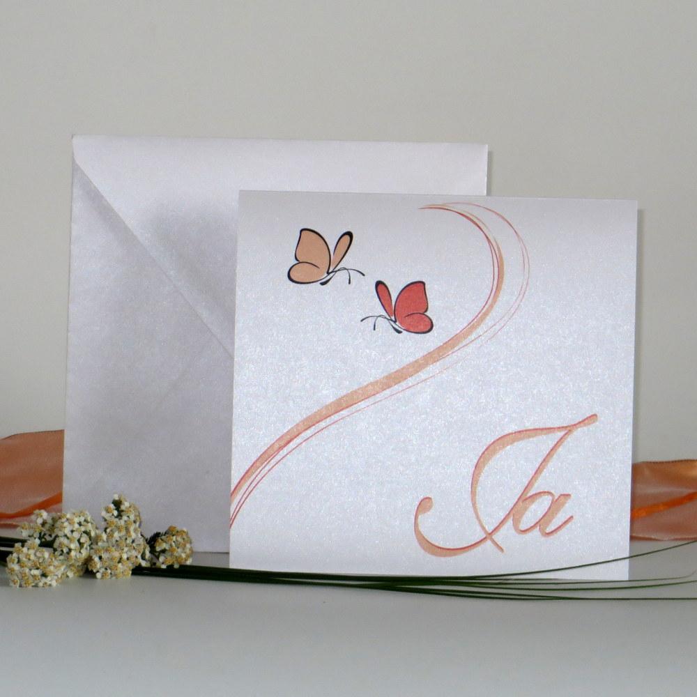 """Orange und apricot für Ihre Hochzeitseinladung """"Schmetterlinge"""""""