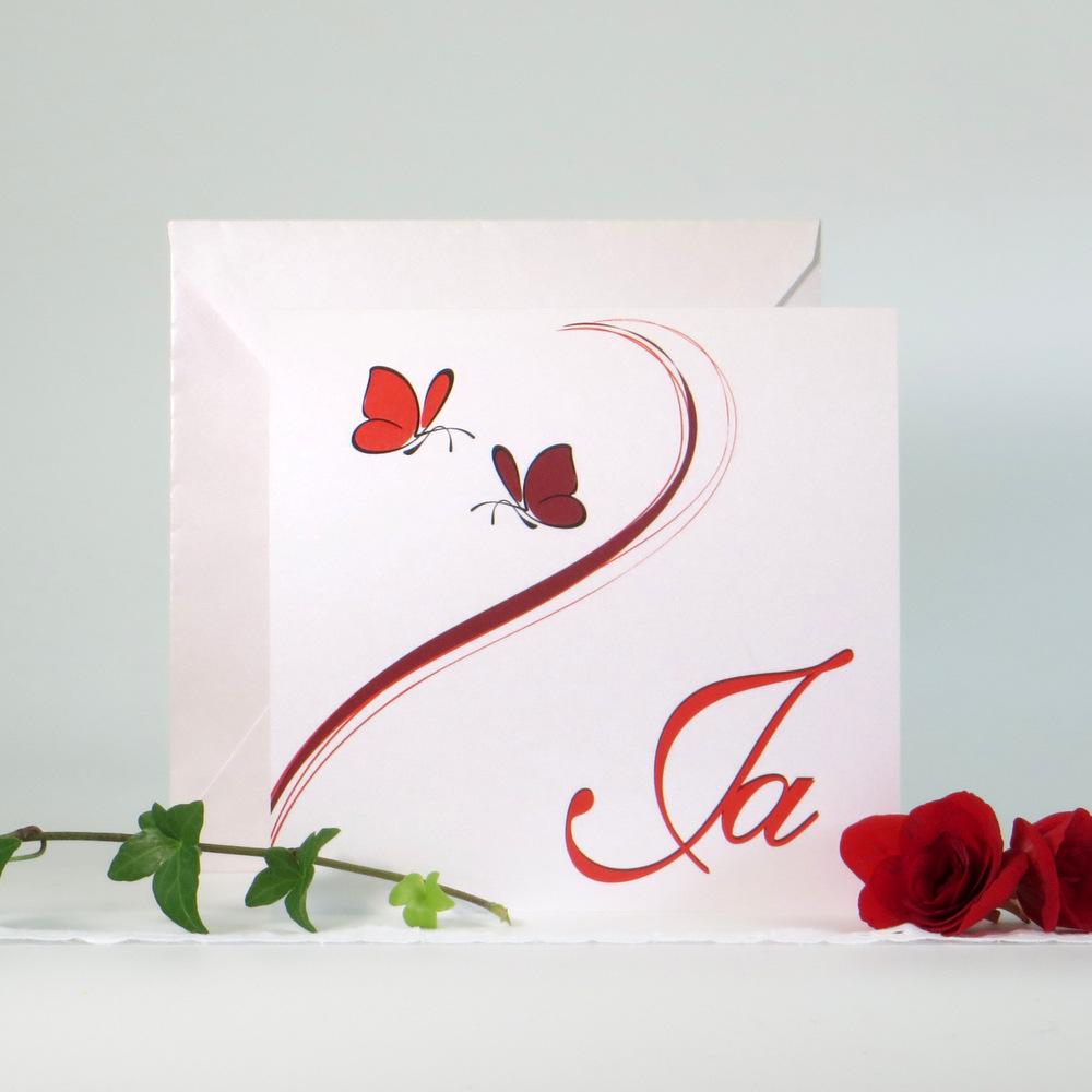 """Hochzeitseinladung """"Schmetterlinge"""" rot"""