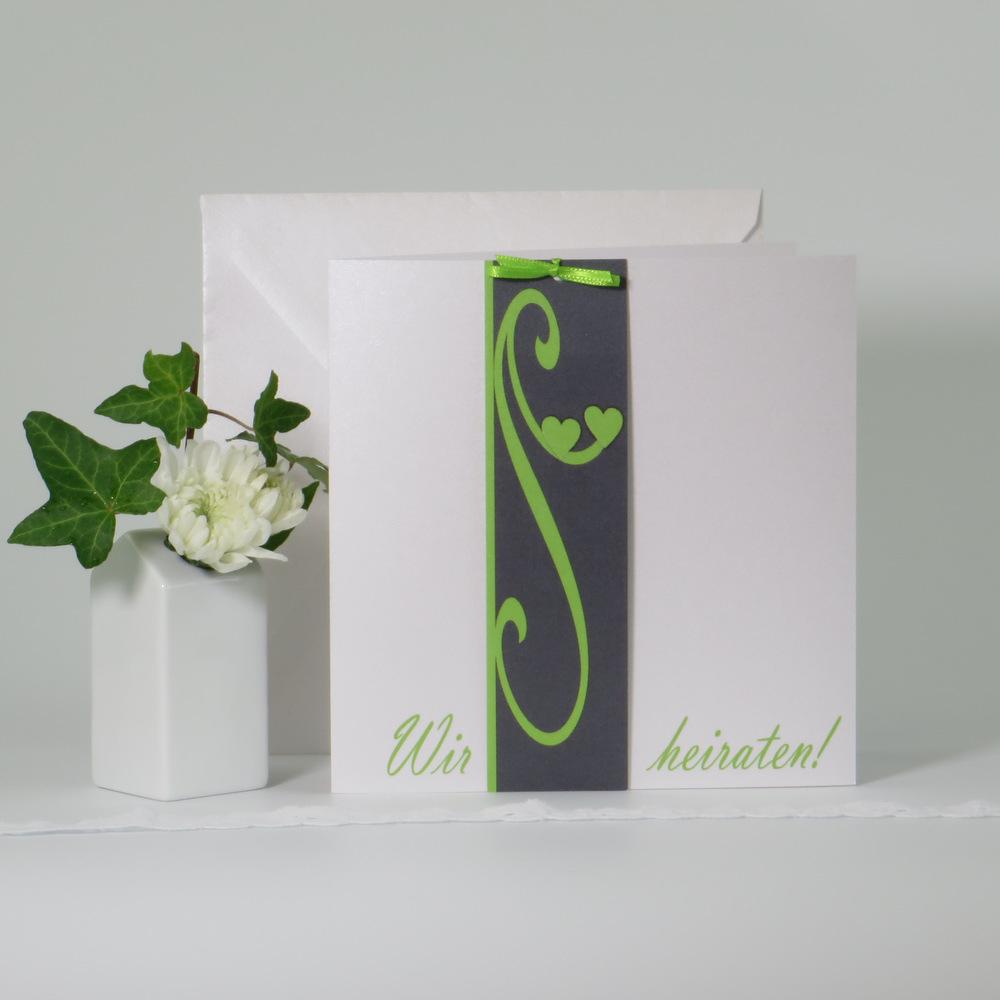 """Hochzeitseinladung """"Unser Tag"""" grün-grau"""