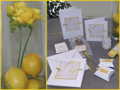 Moderne Tischdekoration für eine Hochzeit in leuchtendem gelb