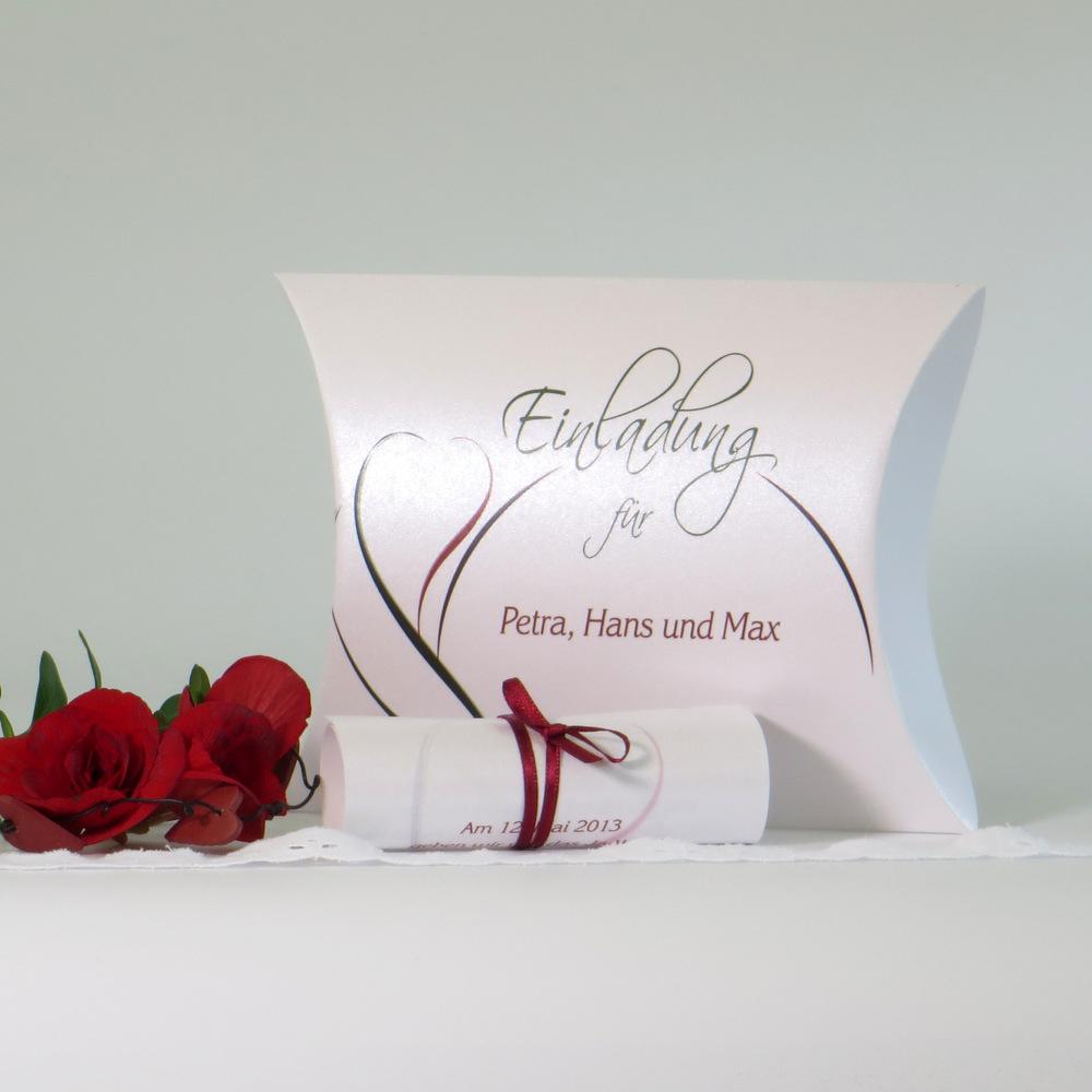 """Hochzeitseinladungsbox """"Blüte"""" rot & grün"""