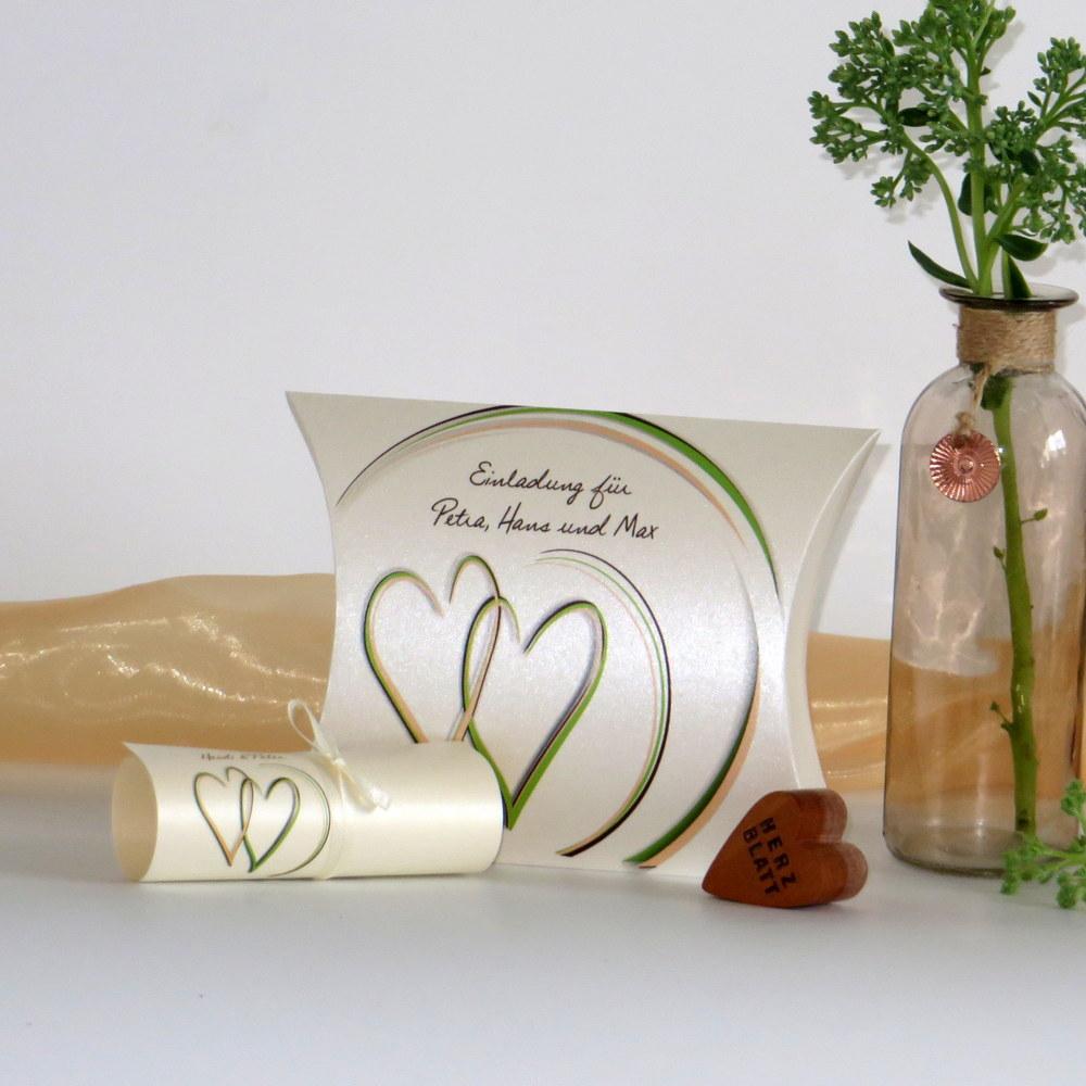 """Hochzeitseinladungsbox """"Duo"""" apricot&grün"""