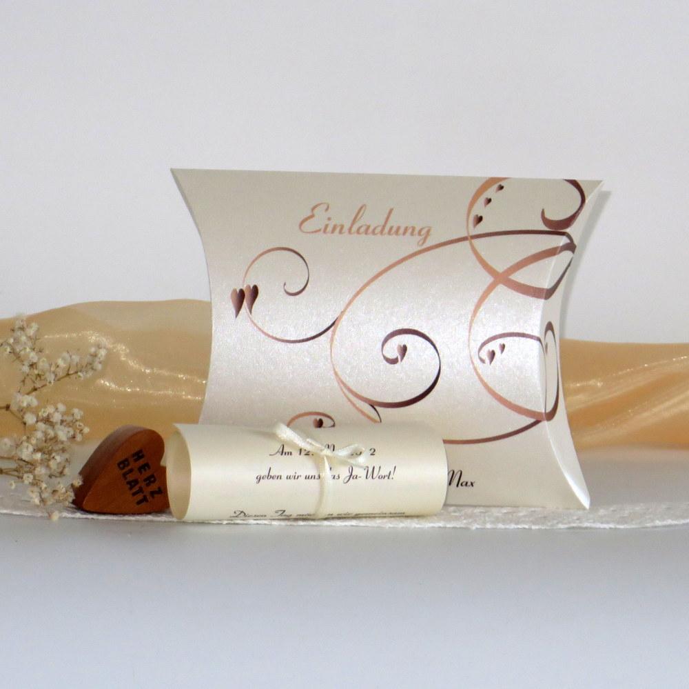 """Hochzeitseinladungsbox """"Farbflirt apricot & braun"""""""