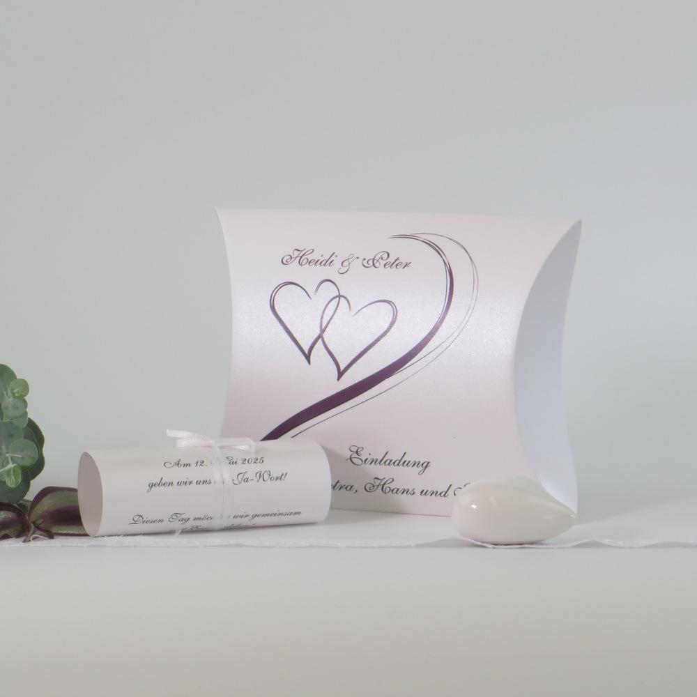 """Hochzeitseinladungsbox """"Harmonie aubergine"""""""