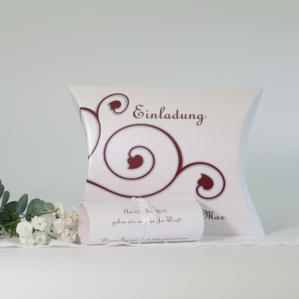 """Hochzeitseinladungsbox """"Ornamente"""" rot"""