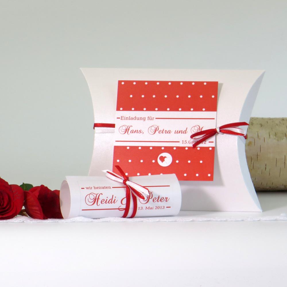 """Hochzeitseinladungsbox """"Punkte"""" rot&weiß"""