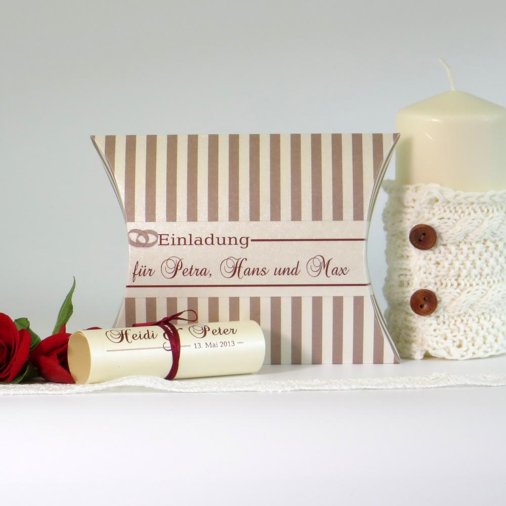 """Hochzeitseinladungsbox """"Ringe"""" creme & rot"""
