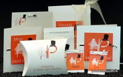 """Hochzeitseinladungsbox """"Brautpaar"""" orange"""