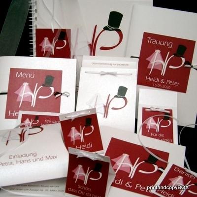 """Hochzeitseinladungsbox """"Brautpaar"""" rot"""