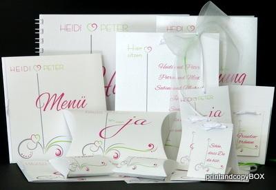 """Hochzeitseinladung """"Design in grün & pink"""""""