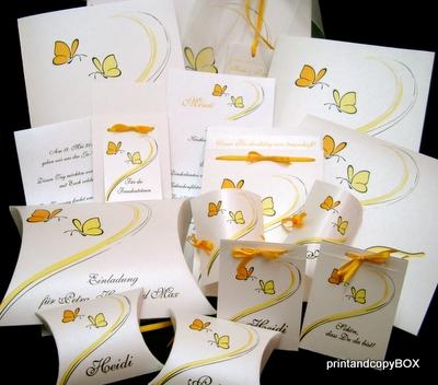 """Hochzeitseinladung """"Schmetterlinge"""" gelb"""
