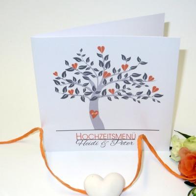 "Menükarte ""Baum"" orange"