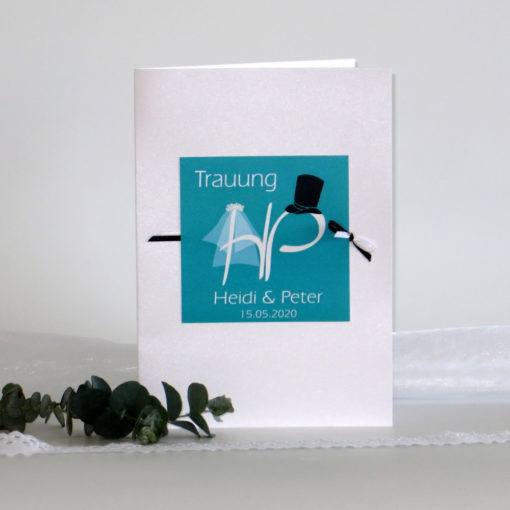 "Kirchenheftumschlag ""Brautpaar"" türkis"