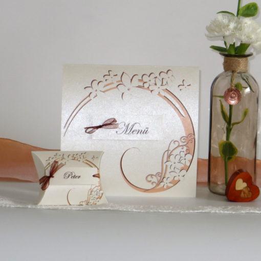 """Gastgeschenk + Tischkarte """"Flair"""" apricot-braun"""