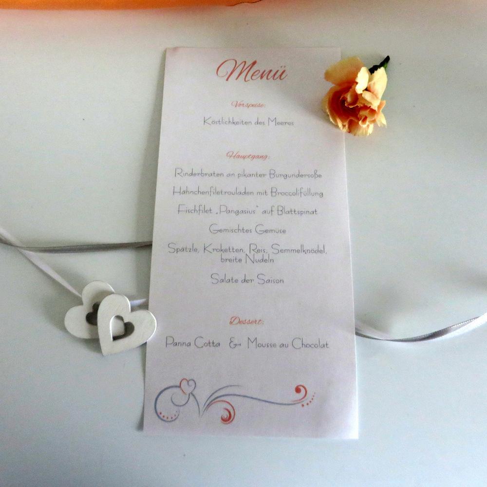 "Menükarte/Schriftrolle ""Design in apricot"""
