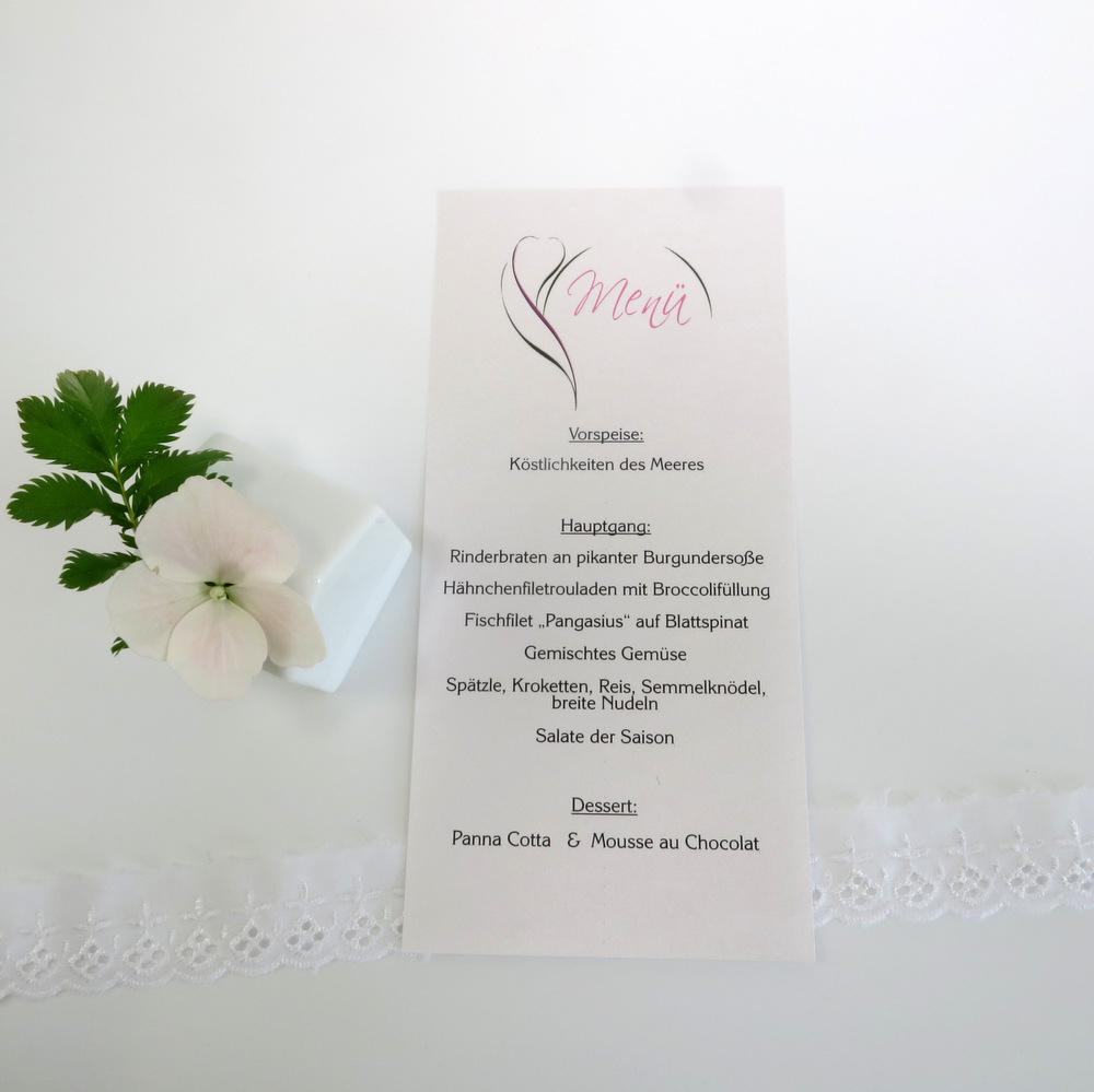 """Menükarte-Schriftrolle """"Blüte"""" pink&grün"""