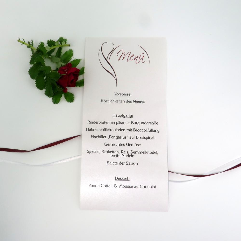 """Menükarte-Schriftrolle """"Blüte"""" rot"""