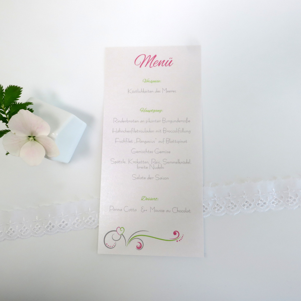 """Menükarte/Schriftrolle """"Design in grün & pink"""""""