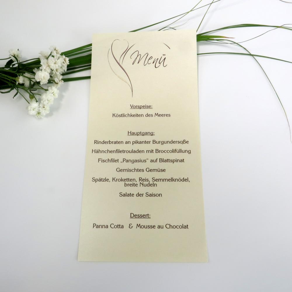 "Menükarte-Schriftrolle ""Blüte"" braun"