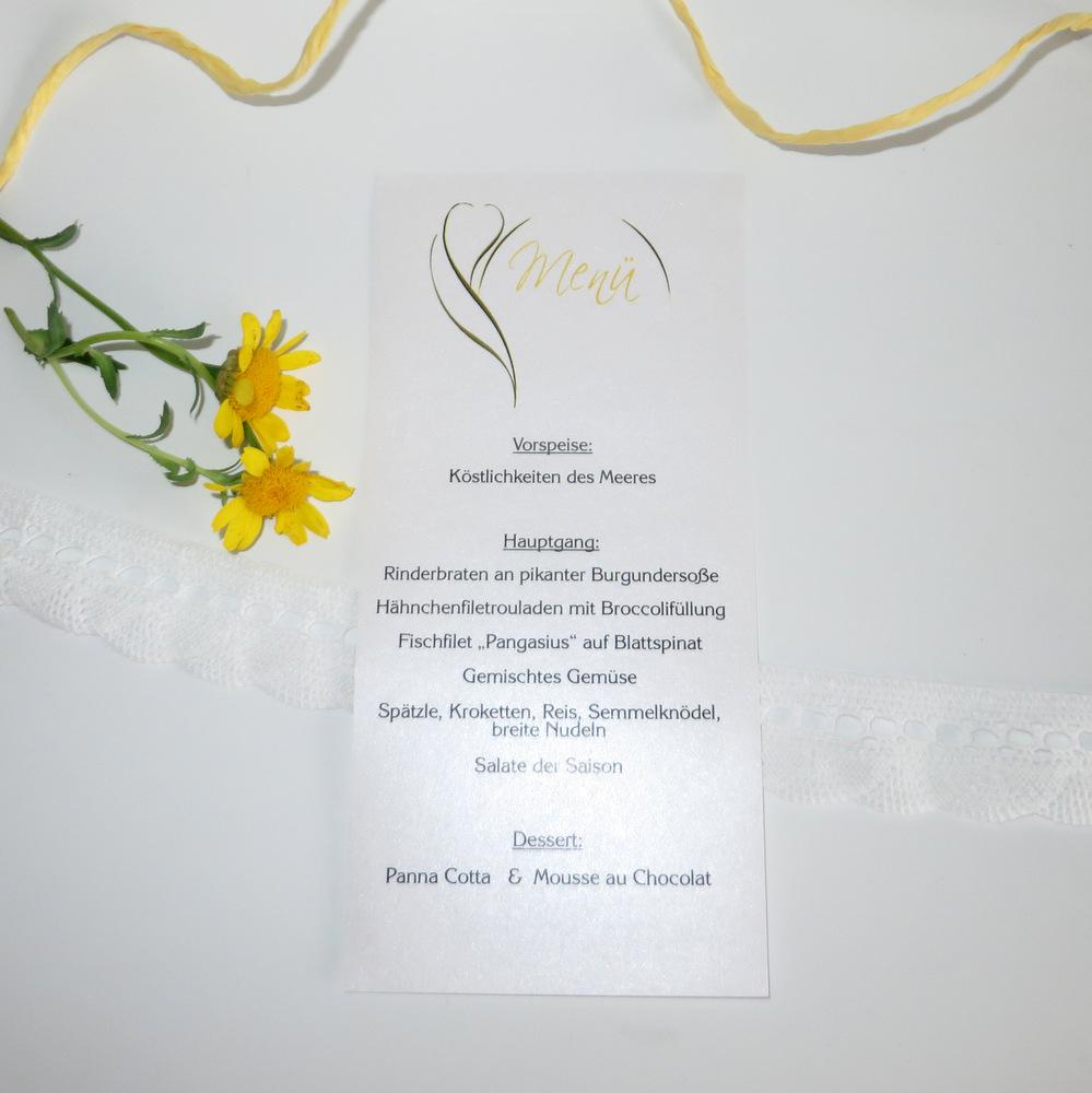 "Menükarte-Schriftrolle ""Blüte"" gelb"