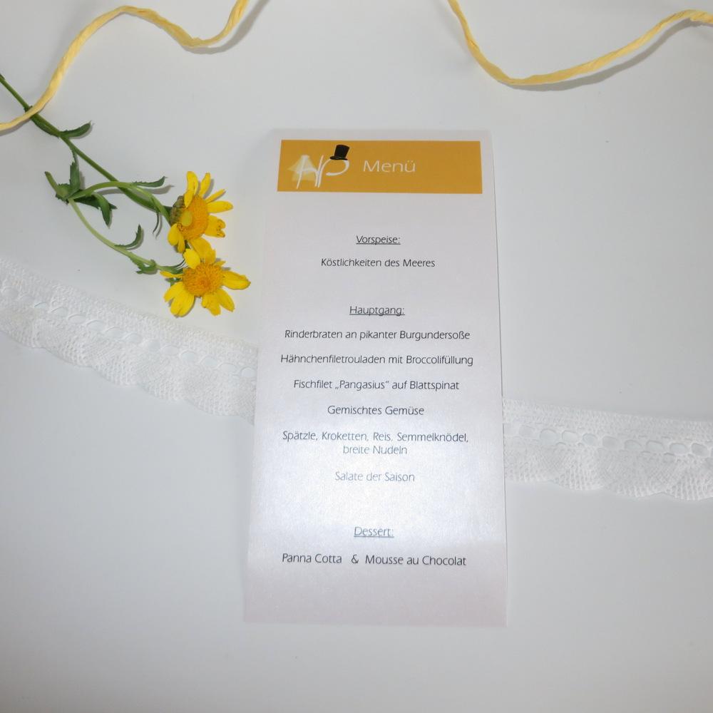 "Menükarte/Schriftrolle ""Brautpaar"" gelb"