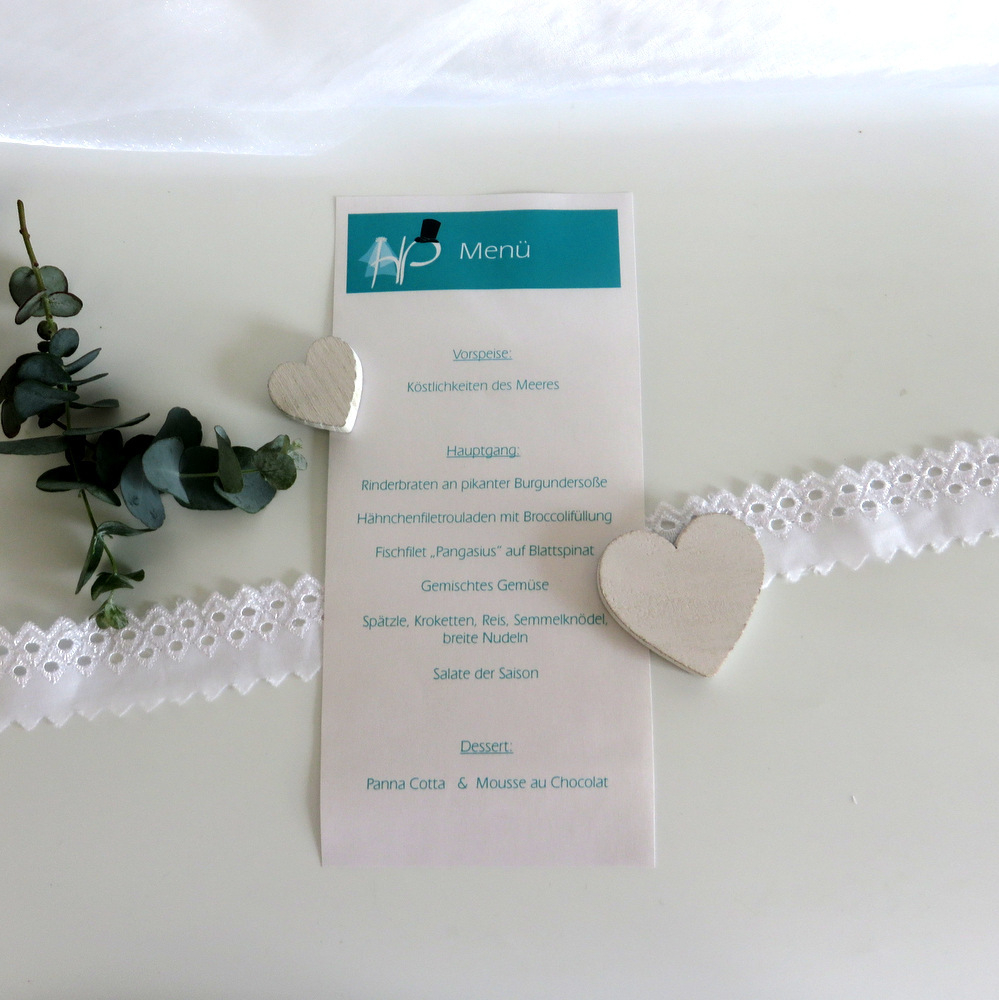 "Menükarte Schriftrolle ""Brautpaar"" türkis"