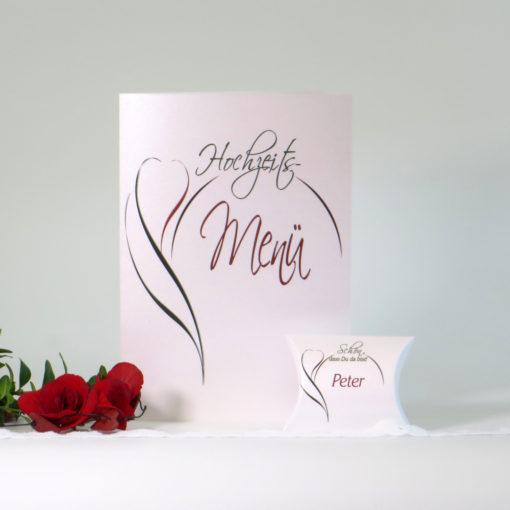 """Gastgeschenk + Tischkarte """"Blüte"""" rot & grün"""