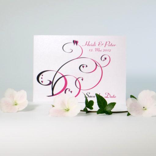 """Save the Date """"Farbflirt pink & schwarz"""""""