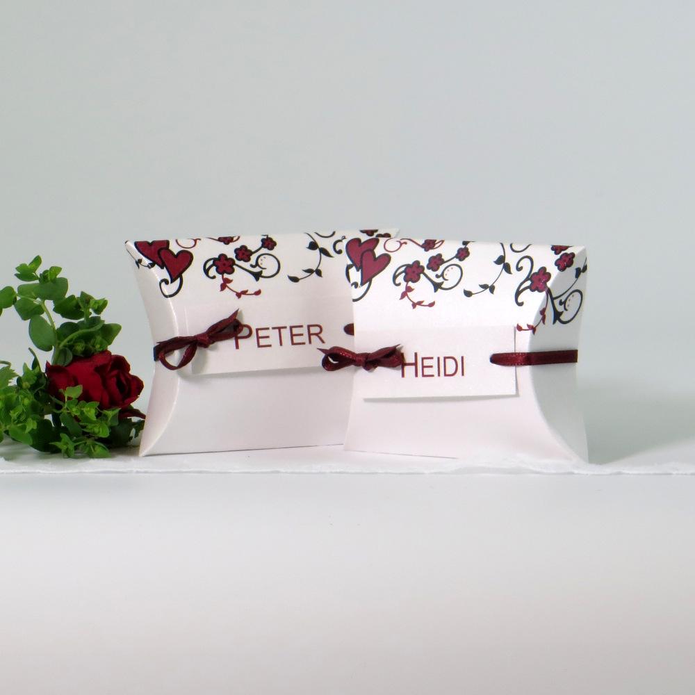 """Gastgeschenk + Tischkarte """"Blumenornament"""" rot"""