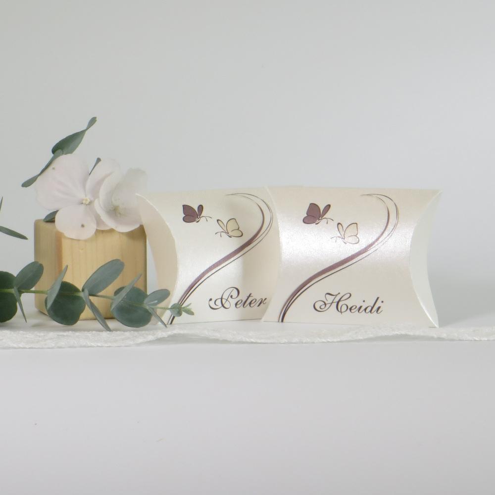 """Gastgeschenk + Tischkarte """"Schmetterlinge"""" creme&braun"""
