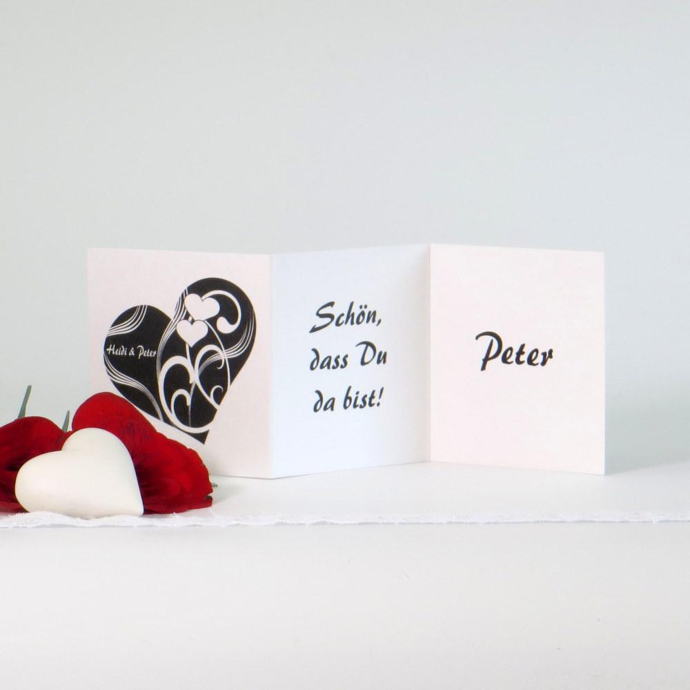 """Tischkarte """"Elegantes Herz"""" schwarz-weiß"""