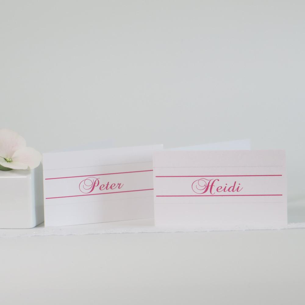 "Tischkarte ""Ringe"" pink & grau"