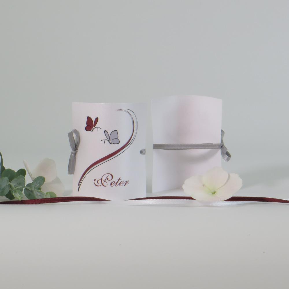 """Tischkarte """"Schmetterlinge"""" bordeaux&grau"""
