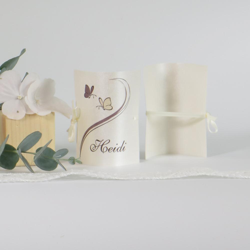 """Tischkarte """"Schmetterlinge"""" creme&braun"""