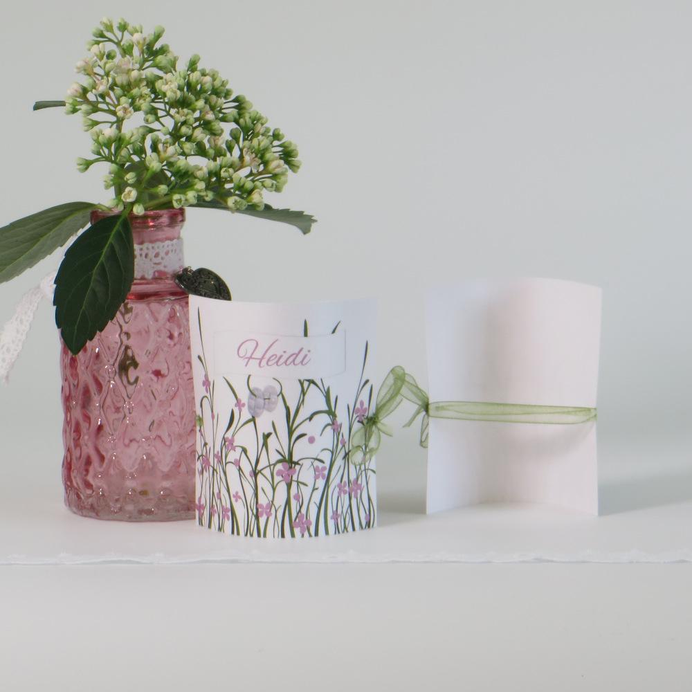 """Tischkarte """"Hochzeitswiese"""" rose"""